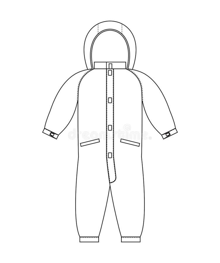 Schema del modello dei pagliaccetti Linea stile dell'abbigliamento dei bambini illustrazione vettoriale