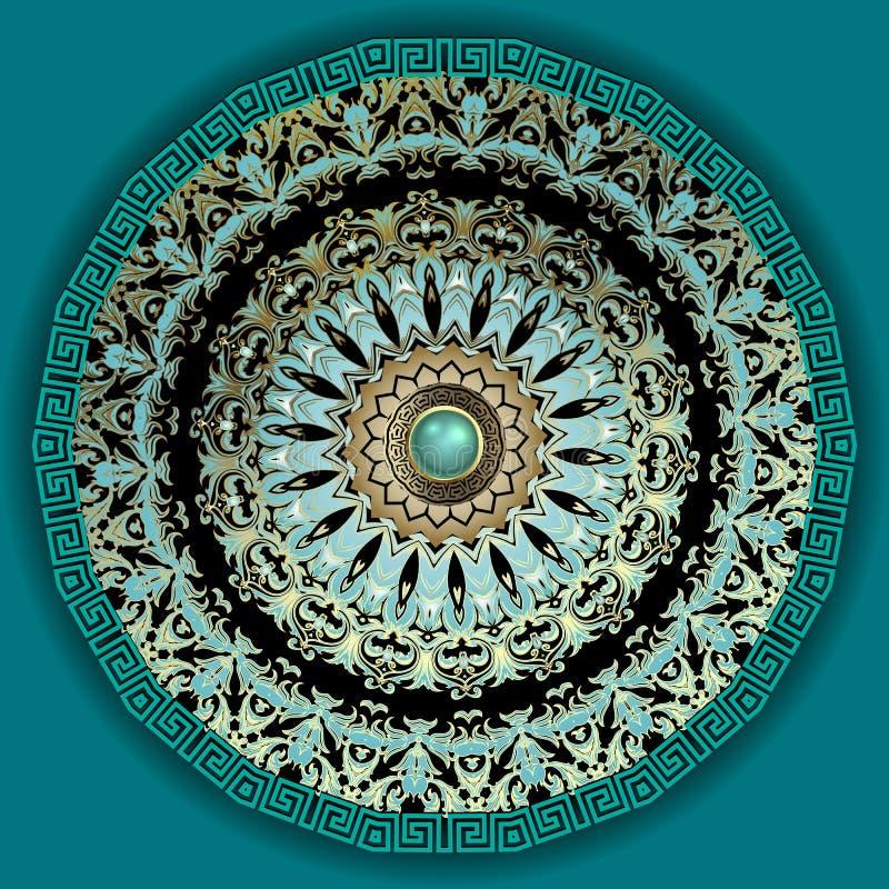 Schema del vettore baroque 3d mandala Lusso di turchese di gioielli cellula rotonda greca gemma di superficie 3d Greco royalty illustrazione gratis