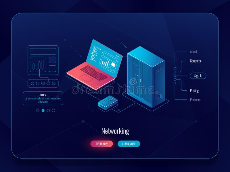 Schema della rete isometrico, dello scambio dei dati, dati di trasferimento dal computer al server, Internet che fornisce, critto illustrazione vettoriale