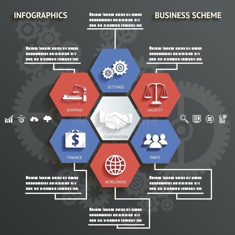 Schema di affari di Infographics con l'illustrazione astratta di vettore del fondo delle icone royalty illustrazione gratis