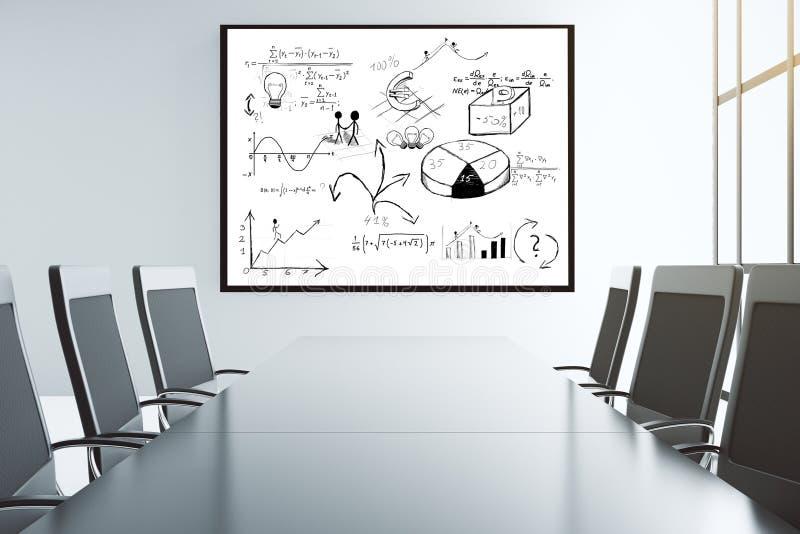 Schema di affari sulla parete nell'auditorium con le grandi sedie illustrazione vettoriale