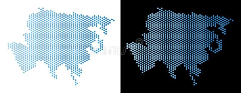 Schema di esagono della mappa dell'Asia illustrazione di stock