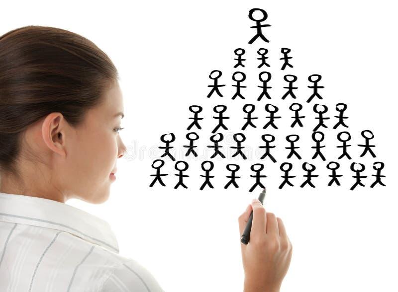 Schema di piramide - disegno della donna di affari immagini stock libere da diritti