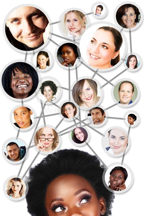 Schema di rete sociale della donna africana illustrazione vettoriale