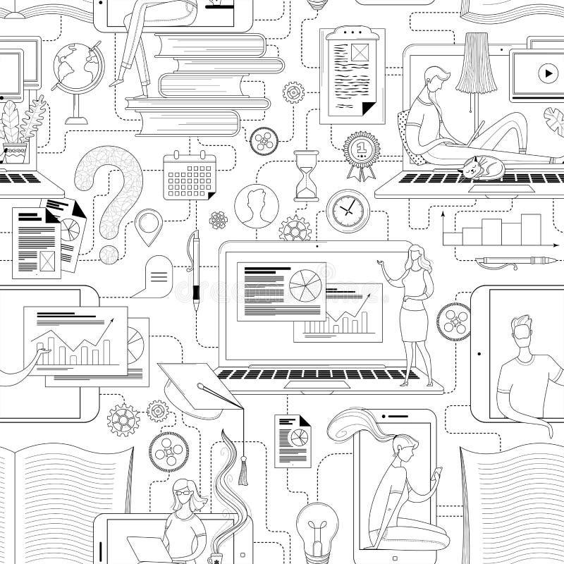 Schema di struttura dell'istruzione online basato su un percorso continuo illustrazione vettoriale