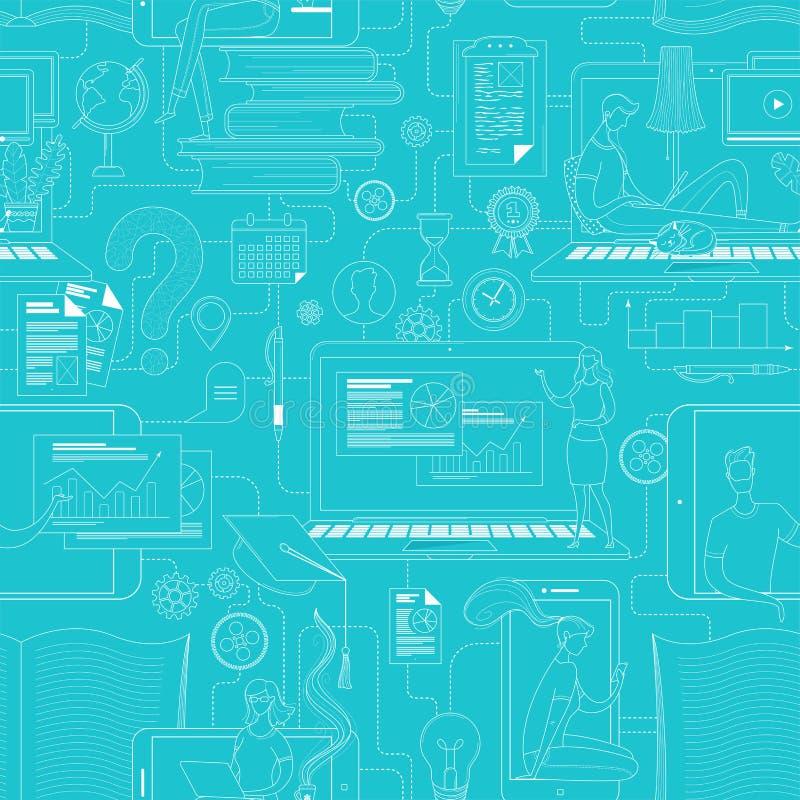 Schema di struttura dell'istruzione online basato su un percorso continuo illustrazione di stock