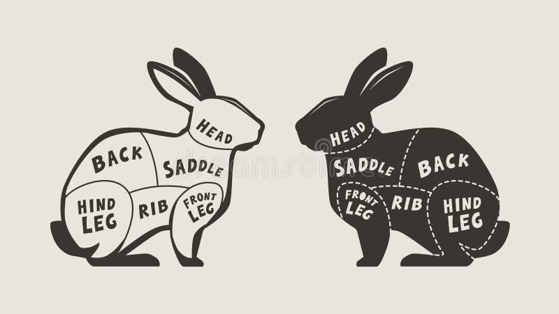Schema di taglio della carne di coniglio Menu per di macelleria o del ristorante Vettore illustrazione vettoriale