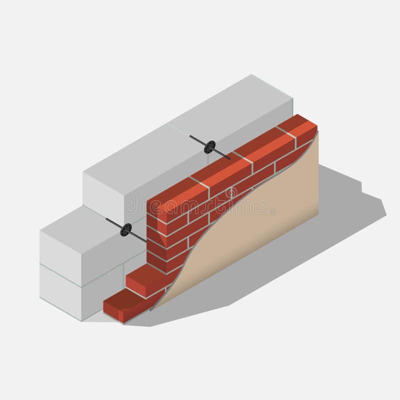 Schema di un muro di cemento aerato illustrazione vettoriale