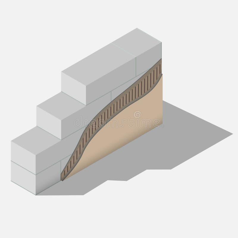 Schema di un muro di cemento aerato illustrazione di stock