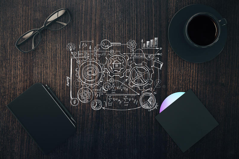 Schema dipinto con la tazza di caffè, il diario ed il disco del CD sul wo marrone illustrazione vettoriale