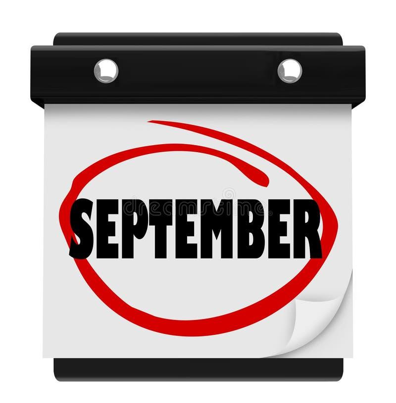 Schema för månad för ändring för kalender för September ordvägg stock illustrationer