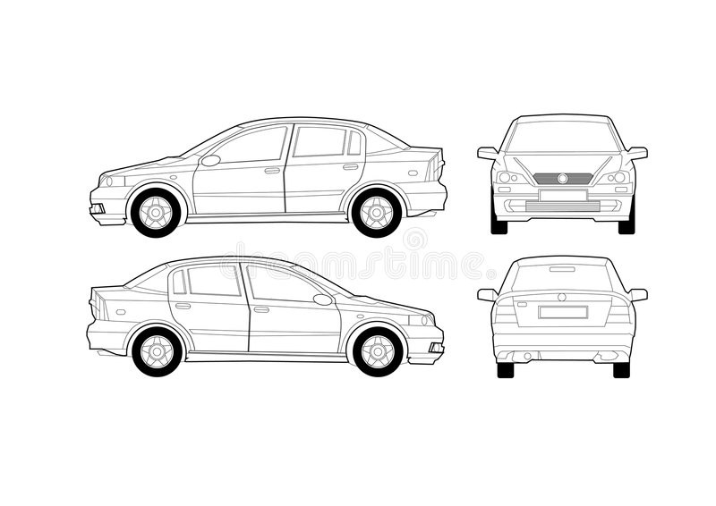 Schema generico dell'automobile del salone illustrazione di stock