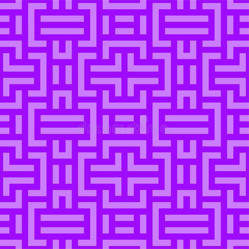 Schema geometrico incolore vettoriale Tessitura del tecno luminoso Ripetizione dello sfondo di viola digitale astratto con illustrazione di stock