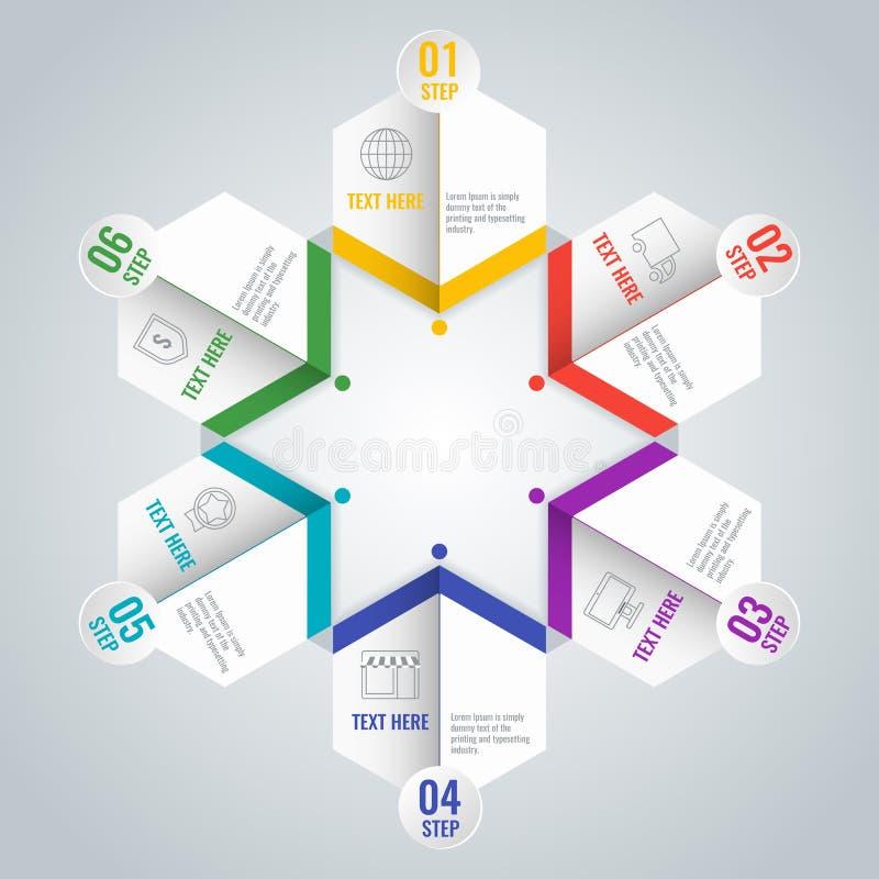 Schema infographic di affari con sei punti nella forma della stella illustrazione vettoriale