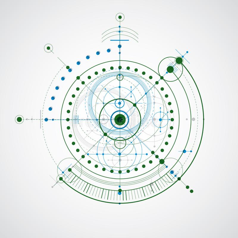 Schema meccanico, disegno di ingegneria variopinto di vettore con il circ illustrazione di stock