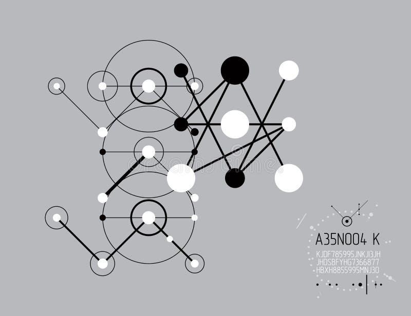 Schema meccanico, disegno di ingegneria di vettore con i cerchi e l illustrazione vettoriale