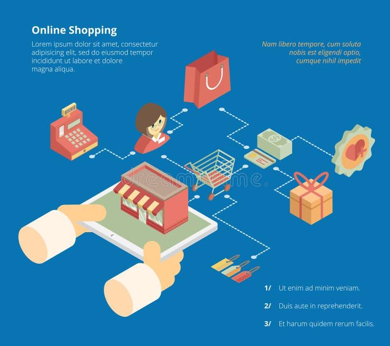 Schema online di infographics di acquisto illustrazione di stock