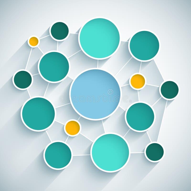 Schema piano di progettazione della rete di Infographics con il blu royalty illustrazione gratis
