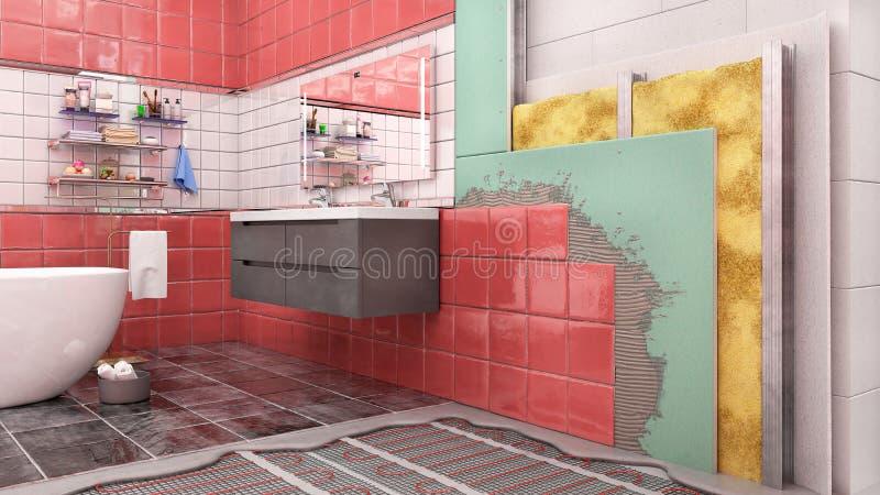 Schema a strati di isolamento termico interno del bagno royalty illustrazione gratis