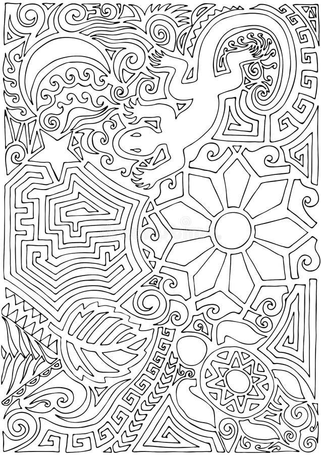 Schema tatuato con contorno nero disegnato a mano in stile maori con tartaruga, sole o fiore, foglia, luna, stella e lucertola su royalty illustrazione gratis