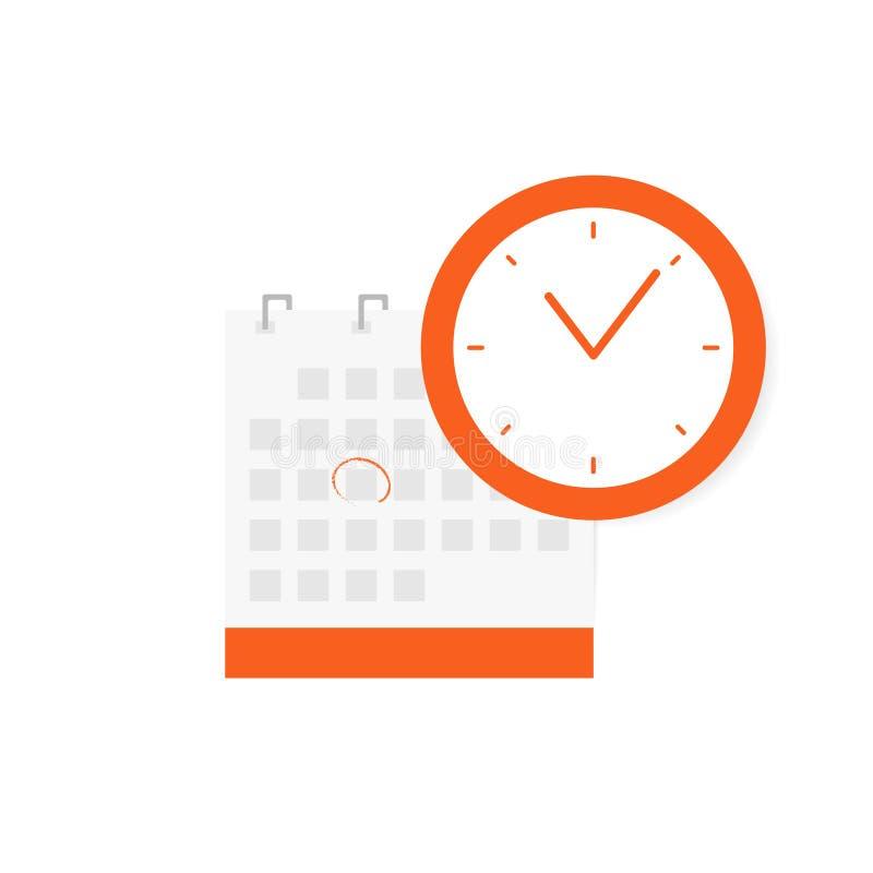 Schema tidsbeställning, viktigt datumbegrepp Calendar symbolen och ta tid på symbolen som isoleras på vit bakgrund royaltyfri illustrationer