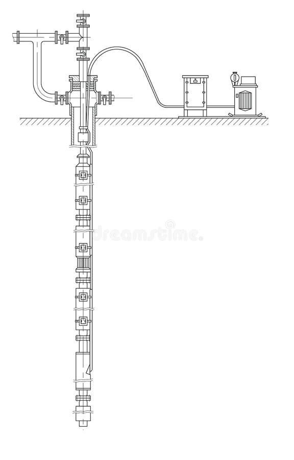 Schema van een oliebron royalty-vrije illustratie