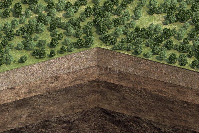 Schema van grond met grondlagen vector illustratie