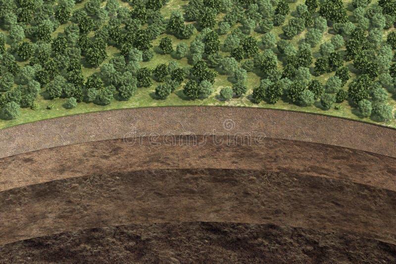 Schema van grond met grondlagen stock illustratie