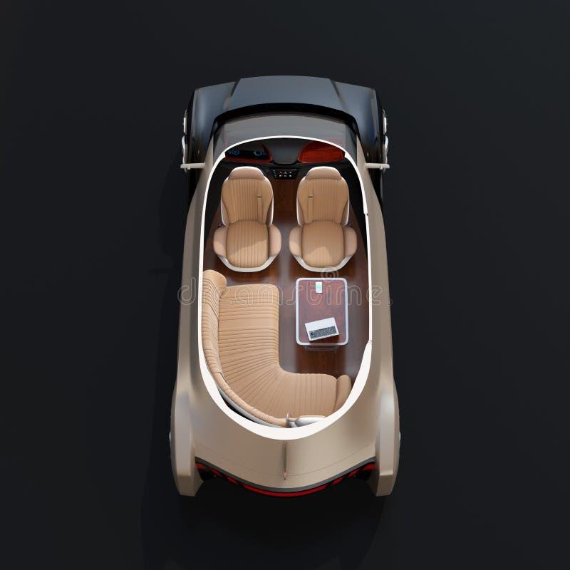 Schema zelf drijf elektrische auto op witte achtergrond stock illustratie