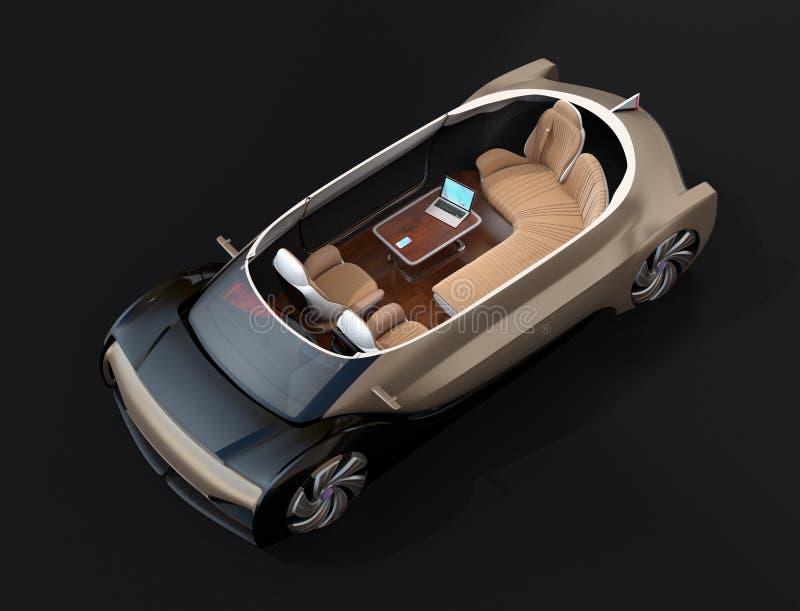 Schema zelf drijf elektrische auto op zwarte achtergrond royalty-vrije illustratie