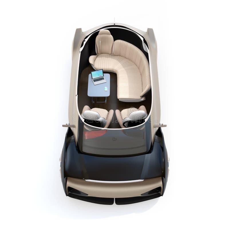 Schema zelf drijf elektrische die auto op witte achtergrond wordt geïsoleerd Zitkamerstoel en achtergedeelte die zetels onder oge royalty-vrije illustratie