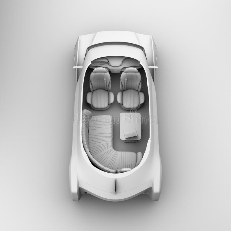 Schemaklei die zelf drijf elektrisch autobinnenland teruggeven royalty-vrije illustratie