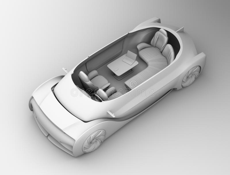 Schemaklei die zelf drijf elektrisch autobinnenland teruggeven stock illustratie