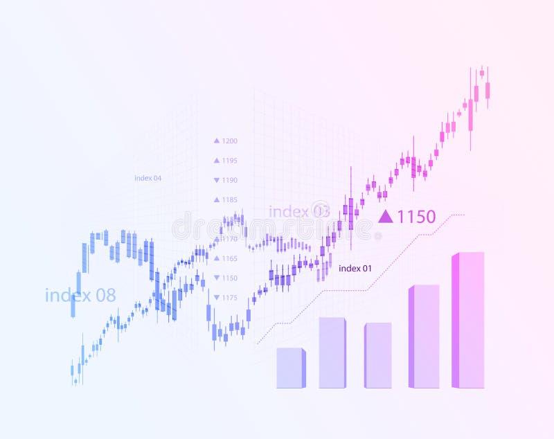 Schemat för att ändra aktiemarknadgrafen i en positiv riktning Investeringekonomin och utvecklingen av stock illustrationer