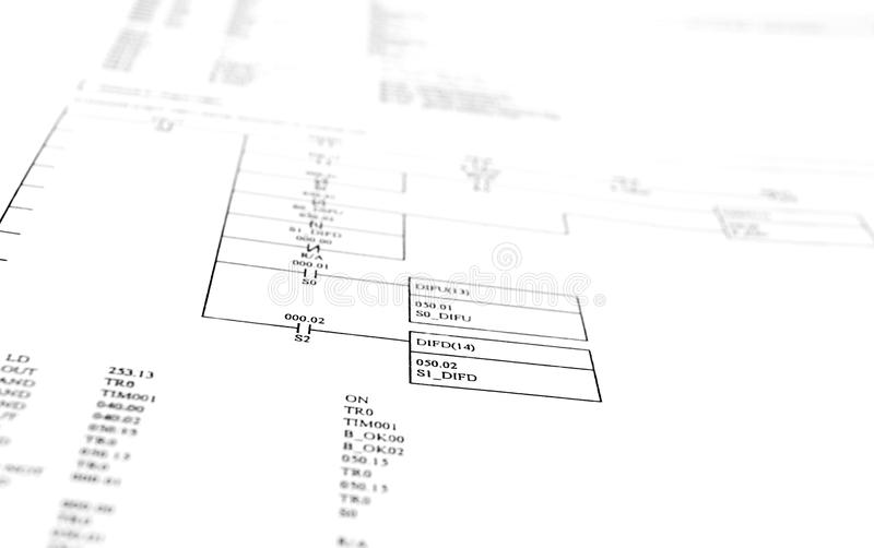 Schematic diagram. Picture of a schematic diagram on white background. Scheme of PLC program diagram royalty free stock images