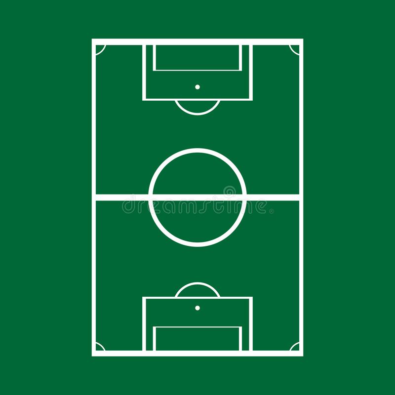 Schematic drawing of a football field, top view. Vector illustration. stock illustration