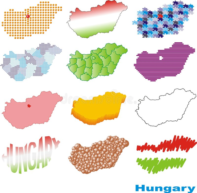 Schematic Hungary. Twelve schematic maps of Hungary royalty free illustration