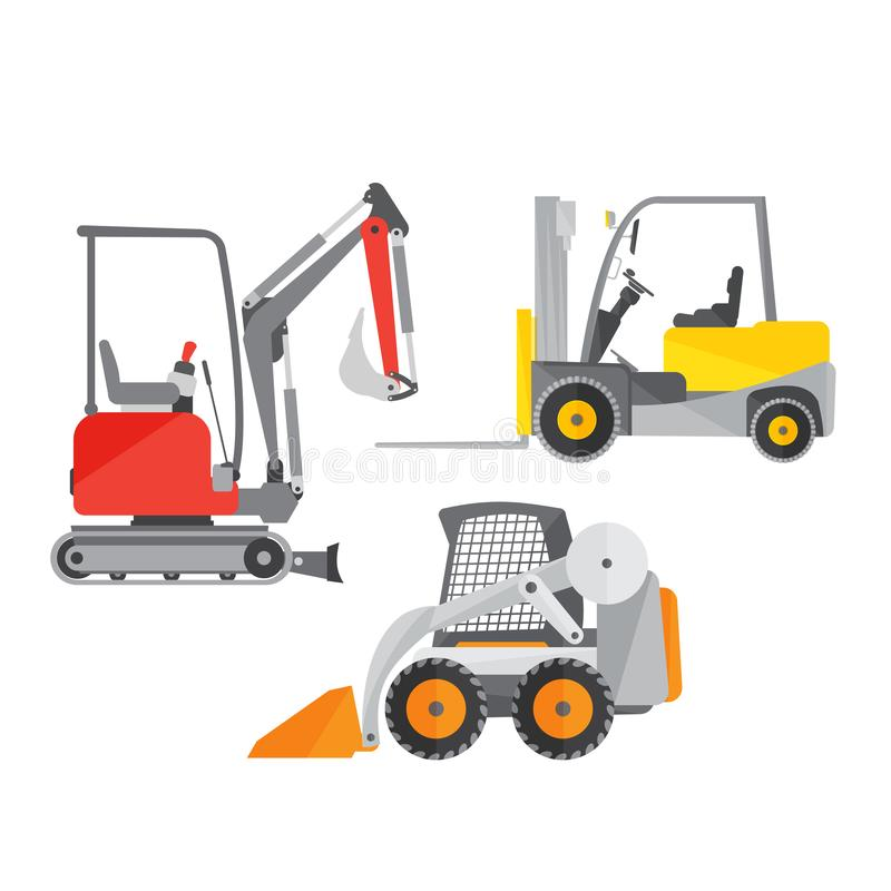 Schematic illustration of two mini tractors or excavators and one mini forklift truck. Stock vector illustration stock illustration