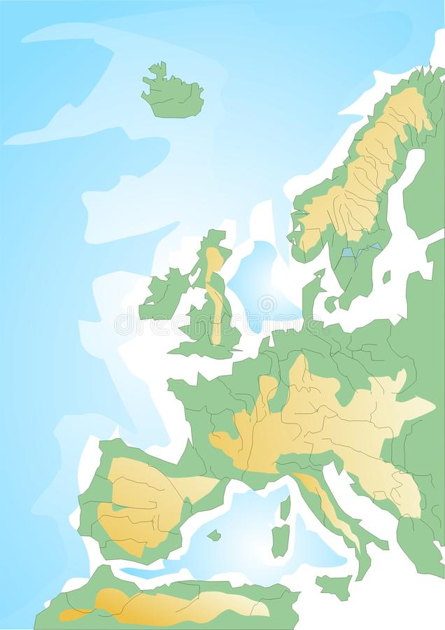 Schematic Map Of Europe Stock Image