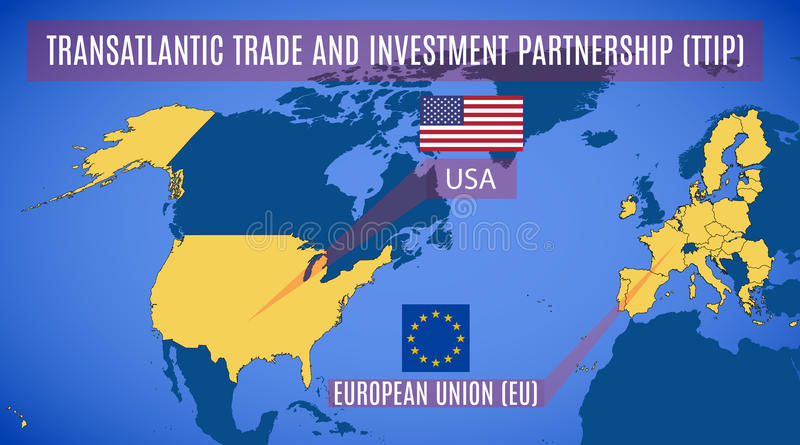 Schematic map of the Transatlantic Trade and Investment Partners royalty free illustration