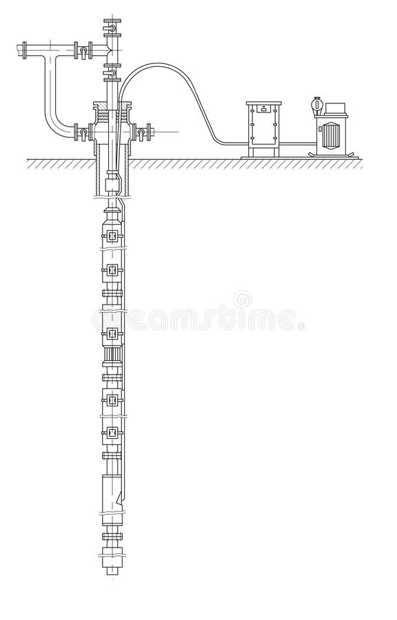 Schematic of an oil well royalty free illustration