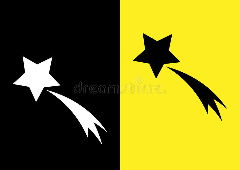 Schematic picture of the comet. Star and trail. Icon on a black. And yellow background. Abstract royalty free illustration