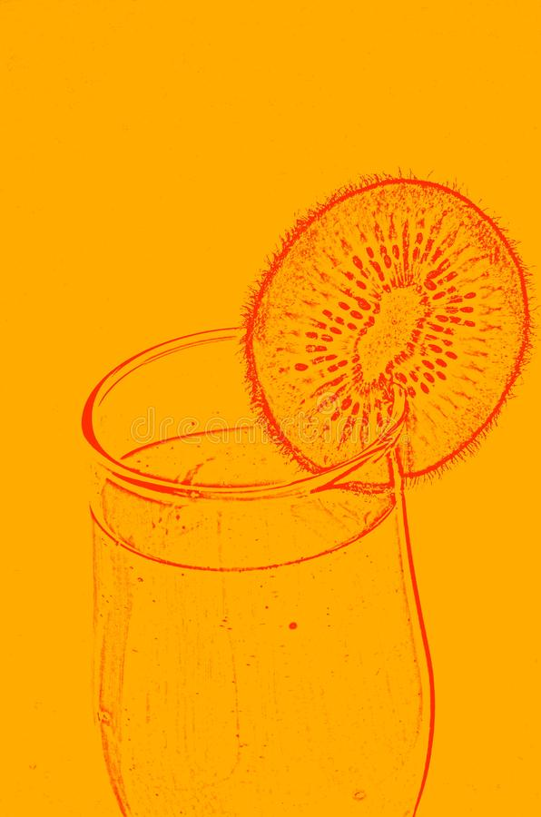 A conceptual image of a wine glass with juice and a piece of fruit. royalty free stock photo