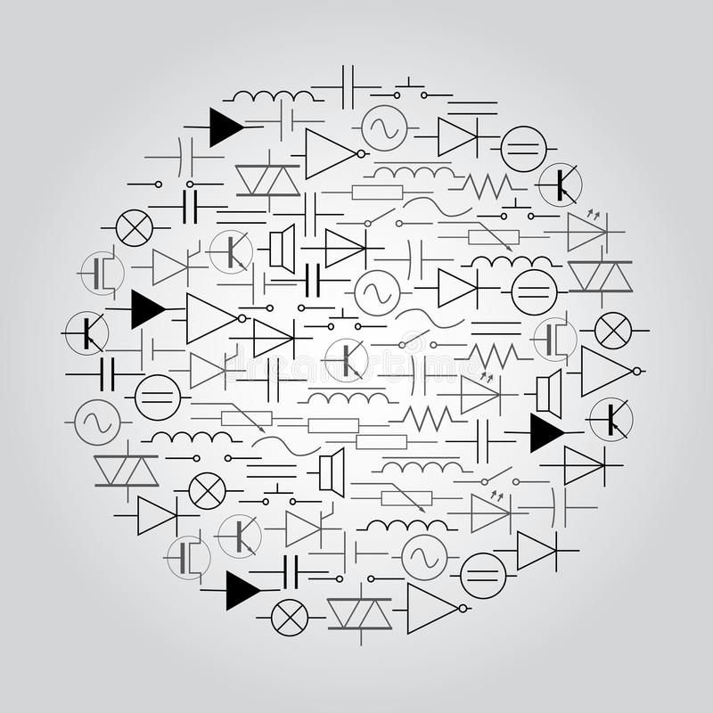 Schematic Symbols In Electrical Engineering In Circle Stock Vector
