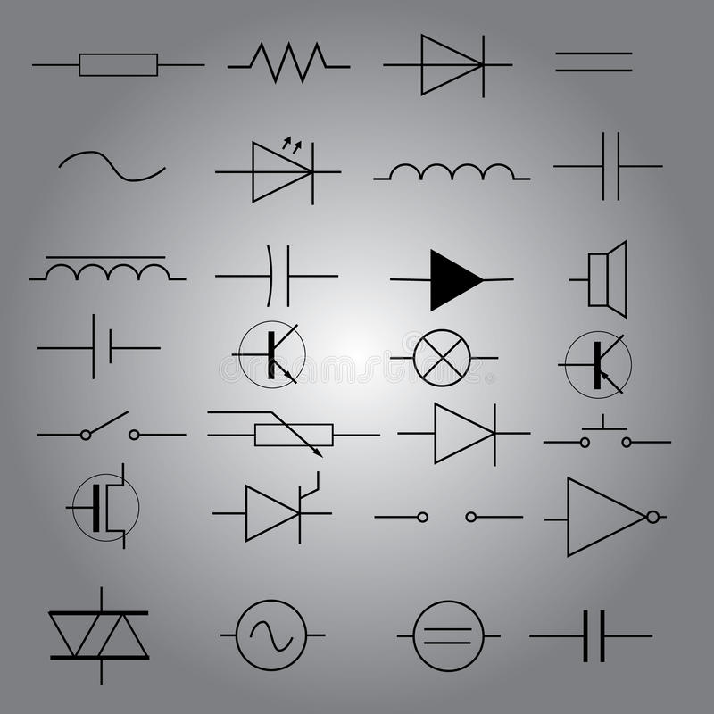 Schematic Symbols In Electrical Engineering Icon Set Eps10 Stock ...