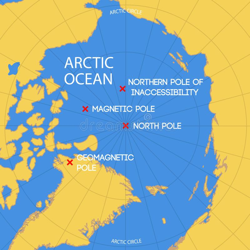 Schematic map of the location of the inaccessibility pole, North. Schematic vector map of the location of the inaccessibility pole, North pole, geomagnetic and stock illustration