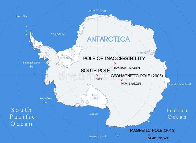 Schematic vector map. Location of the South poles.  vector illustration