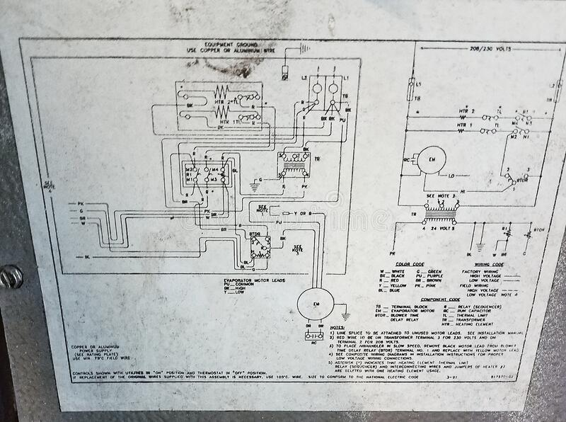 Schematics for the Mechanical Engineer▪ For an older AzC unit it acts like a map of outdated technology Tampa Florida stock photos