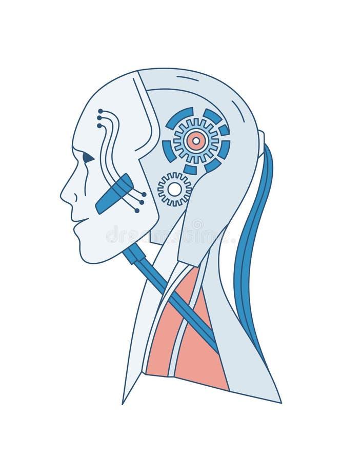 Schematisch portret van robot of androïde die op witte achtergrond wordt geïsoleerd Kunstmatige intelligentie, cyber bewustzijn,  royalty-vrije illustratie