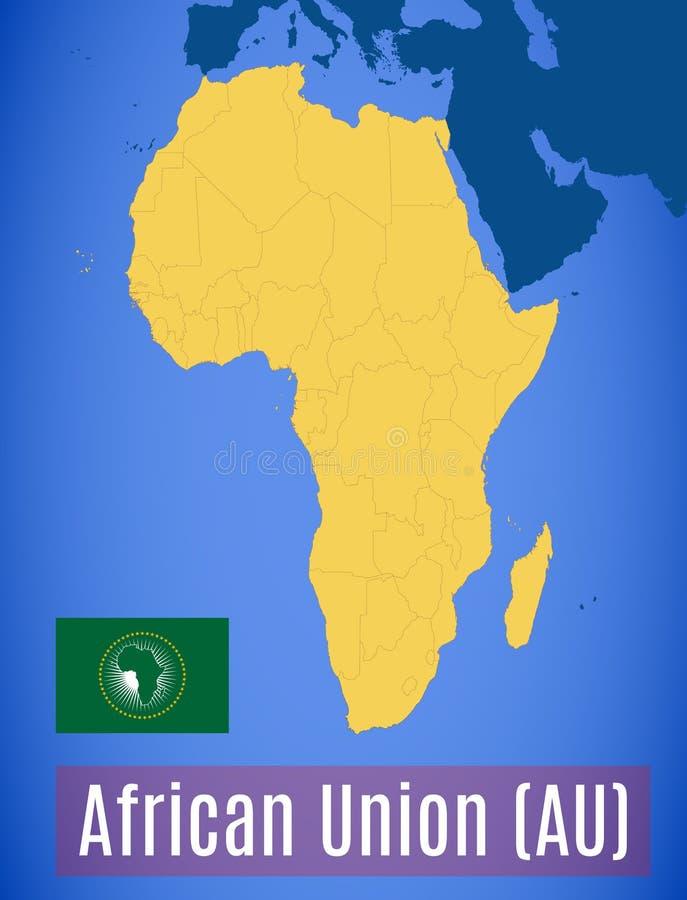 Schematische kaart en vlag van Afrikaans Unie Au stock illustratie